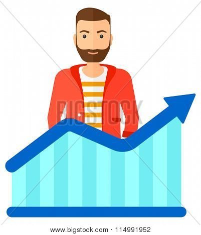 Man with growing chart.