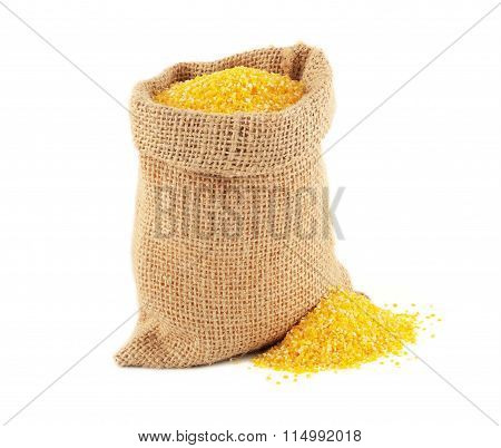Burlap bag with maize grits