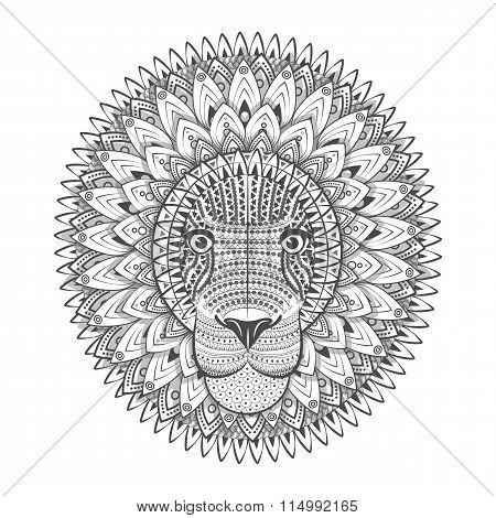 Zentangle Ornate Lion. Tattoo Sketch Vector Illustration. Doodle Lion. Lion Head Print