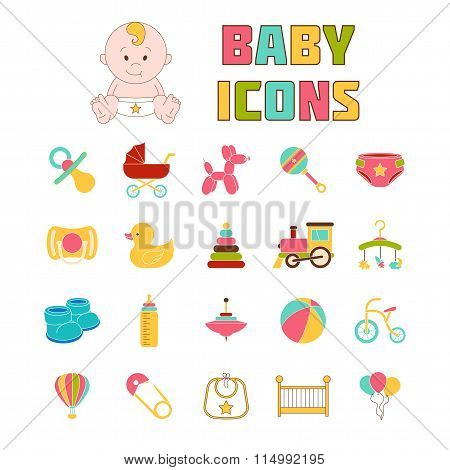 Baby Icons. Doodle Elements Set.  Vector Illustration