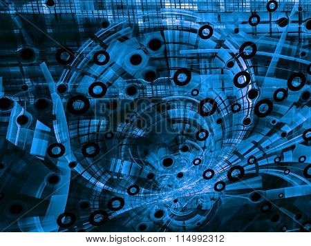 Abstract blue modern tech-style image on black background