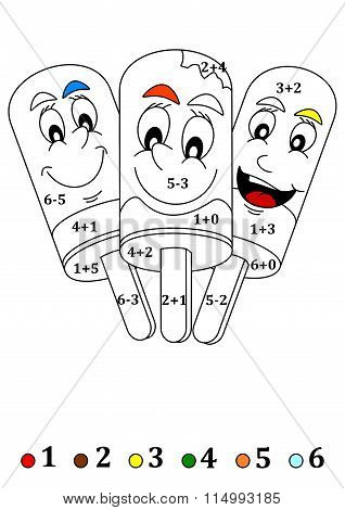 Three Happy Smiling Lollies As Counting For Little Kids