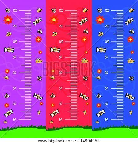 Children Meter Wall Cartoon Illustration