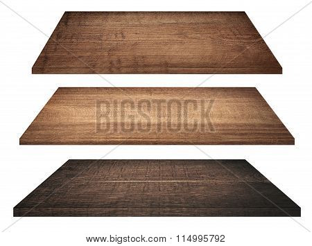 Wooden shelves, tabletop or cutting board isolated on white