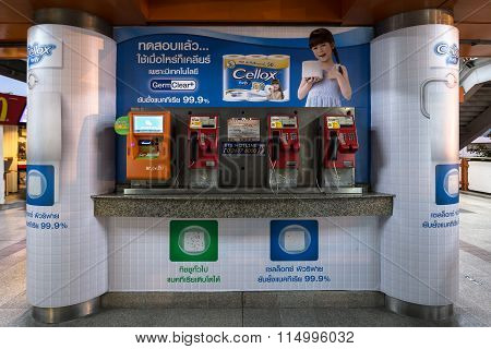 public payphone and top up machine at BTS public train station