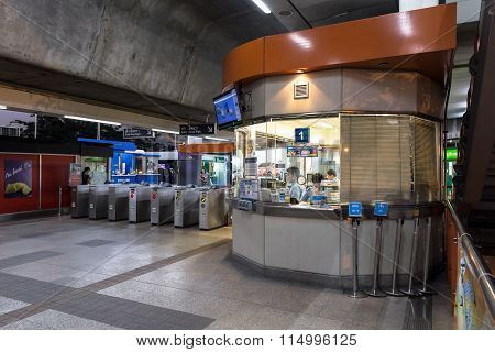 Ticket office corner at the BTS public train station at night