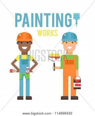 Cartoon workers couple and tools under construction vector illustration