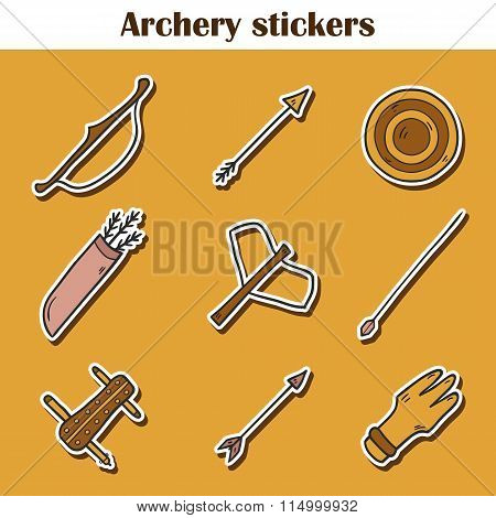 Set of hand drawn archery icons