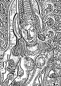 picture of belur  - illustration from photograph of sculpture at the belur halebid temple complex near hassan karnataka india - JPG