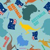 Постер, плакат: Australia Day Seamless Pattern Festive Backdrop For National Holiday Australia Patriotic Ornament