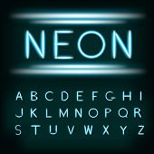 Постер, плакат: Neon light alphabet font