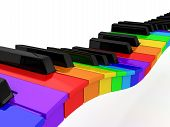 picture of rainbow piano  - Rainbow piano over white background - JPG