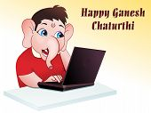 picture of ganesh  - abstract ganesh chaturthi concept wallpaper vector illustration - JPG