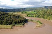 picture of chepstow  - horseshoe bend in river wye at chepstow - JPG