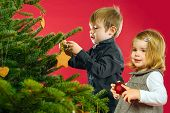 Brother And Sister Hanging Christmas Tree Decorations