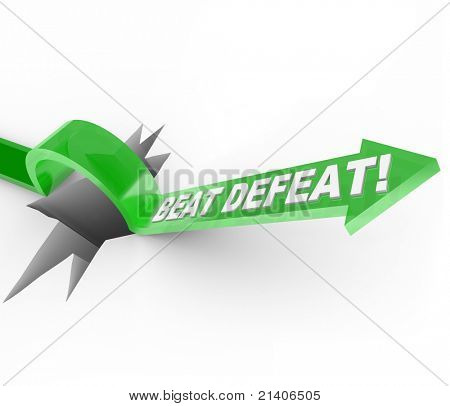 An arrow with the words Beat Defeat jumps over a large crack in the ground symbolizing a major obstacle or challenge and the determination and motivation to jump over it and achieve success