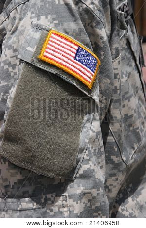 Flag Patch On Iraq War Soldier Uniform