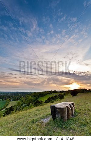 North Downs At Sunset