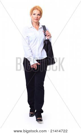 attractive blonde businesswoman walking. isolated on white background.