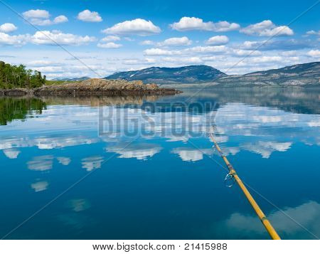 Fishing on Lake Laberge, Yukon Territory, Canada