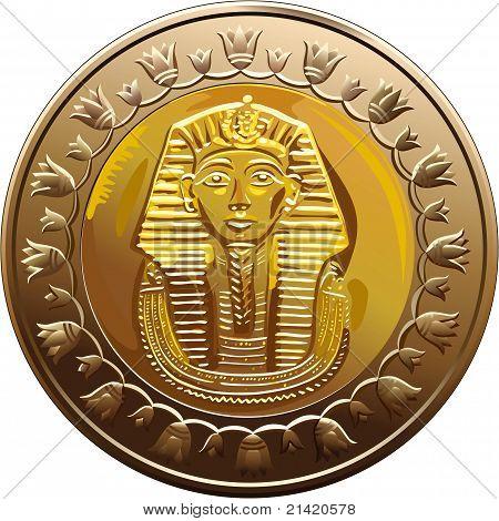 Vector Egyptian Coin Featuring Pharaoh