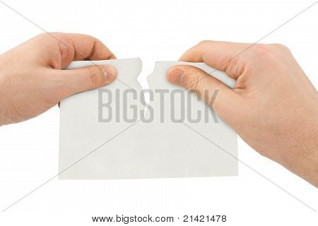 Hands Tear Paper