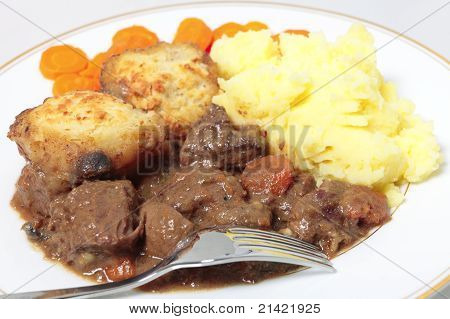 Beef Stew And Dumplings Closeup