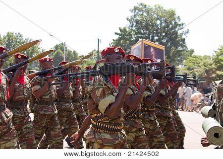 Soldiers at a military parade in Ouagadougou, Burkina Faso