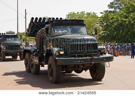 Mobile rocket launcher at a military parade in Ouagadougou, Burkina Faso