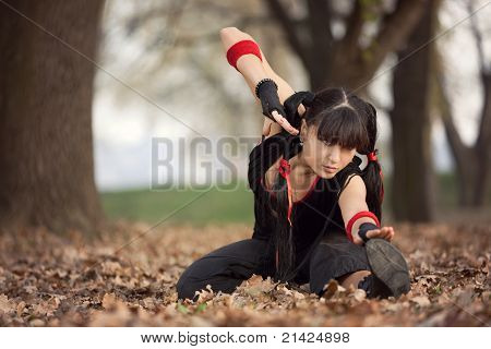Woman Practicing Martial Arts