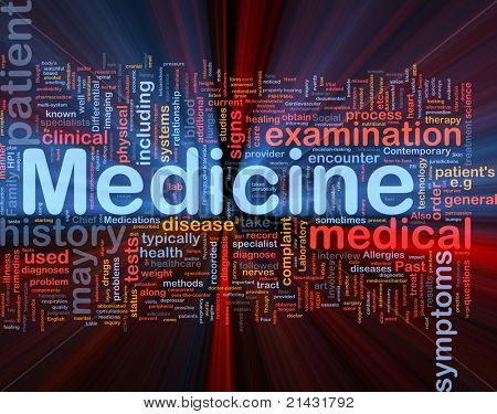 Background concept wordcloud illustration of medicine health industry glowing light