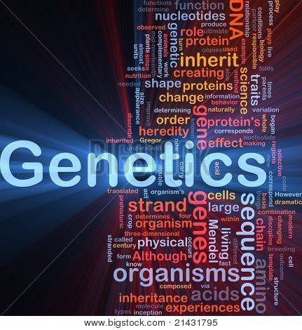 Background concept wordcloud illustration of genetics dna genes glowing light
