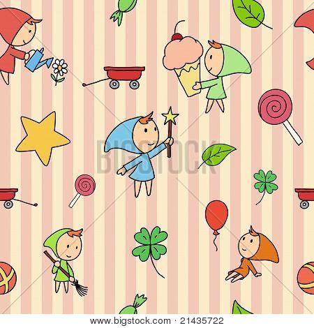 Seamless Fairy Children Pattern