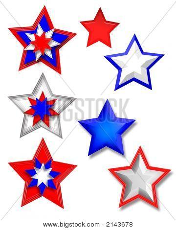 3D Stars Clip Art