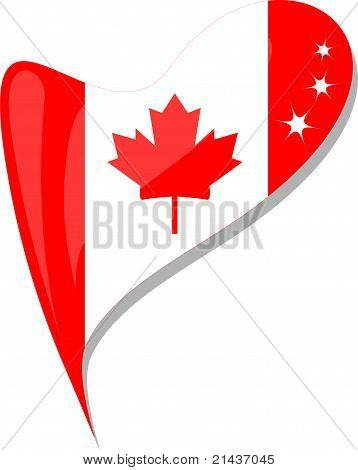 Canada Flag Button Heart Shape. Vector