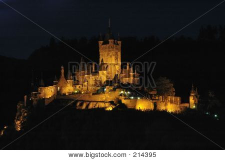 Night View Of Burg Cochem In Cochem, Germany