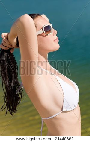 Summer Young Woman On Seashore In Bikini