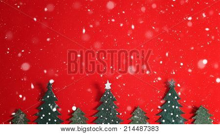 poster of Christmas holiday background with Santa and decorations. Christmas landscape with gifts and snow. Merry christmas and happy new year greeting card with copy-space. Christmas celebration holiday background.