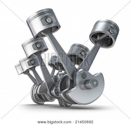 V8 engine pistons. 3D image.