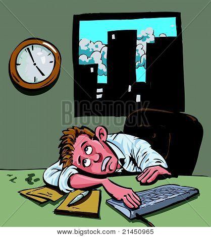Cartoon man waiting to go home