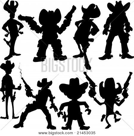 Set of cartoon cowboy silhouettes