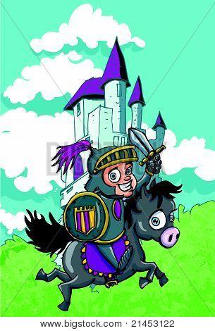 Cartoon Ritter vor einem Schloss