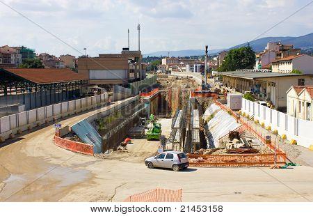 Train station construction site.