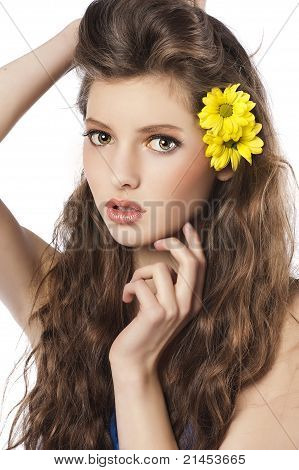 Fresh Girl With Yellow Flower In Hair