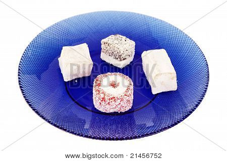 Turkish Delights in a blue plate