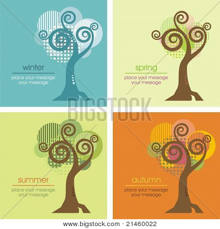 Vector tree in four different seasons (spring, summer, winter and autumn).