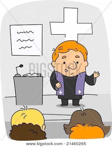 Illustration of a Priest at Work