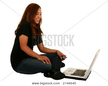 Beautiful Model Laughing In Front Of Laptop