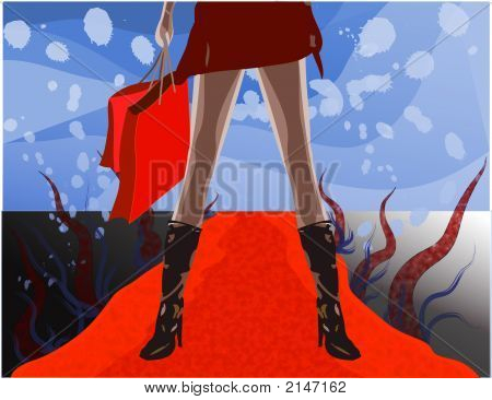 Female Shopper On Red Carpet