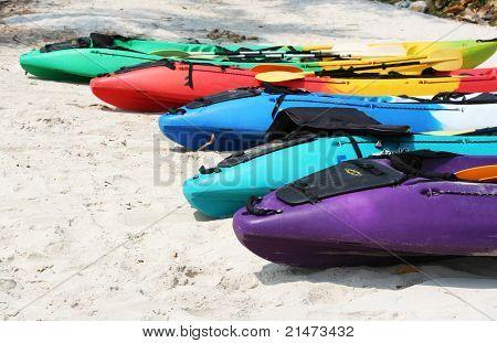 Kayaks on a beach in Thailand